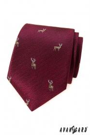 Bordowy krawat z jeleniem