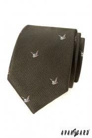 Zielony krawat z motywem latającej kaczki