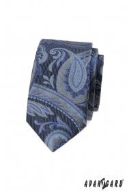Niebieski, wąski krawat z nowoczesnym wzorem