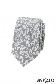 Jasnoszary krawat w białe płatki