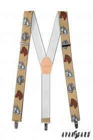 Męskie szelki z motywem konia w kolorze beżowej skóry i metalowymi klipsami