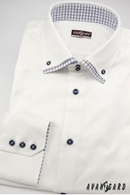 Śnieżnobiała koszula slim z niebieskimi dodatkami z długim rękawem