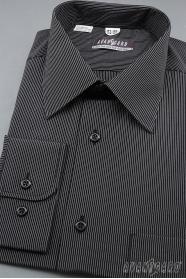 Koszula męska z długim rękawem, czarna z białym paskiem