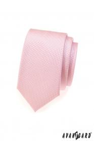 Różowy wąski krawat o drobnej strukturze