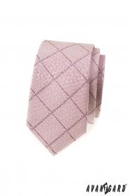 Wąski krawat różowy pudrowy wzór