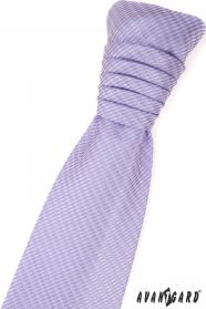Liliowy krawat ślubny z delikatnym wzorem