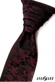 Czarny krawat ślubny z ornamentami w kolorze fuksji