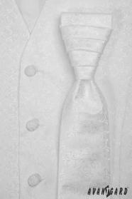 Biała męska ślubna kamizelka z krawatem, błyszczący wzór