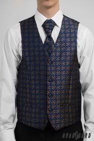 Ciemnoniebieska męska formalna kamizelka w kolorze brązowym