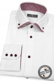 Biała koszula w połączeniu z czerwoną