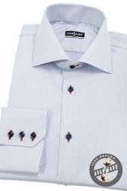 Jasnoniebieska, wąska koszula męska z kolorowymi dodatkami