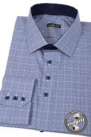 Niebieska koszula w kratę z długim rękawem