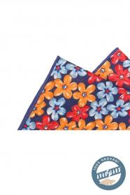 Poszetka w kwiaty, jedwabny niebieski pomarańczowy czerwony