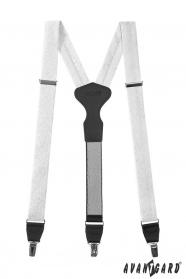 Białe szelki z wzorem, czarna skóra, metalowe klipsy