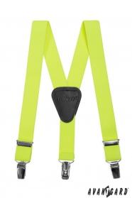 Neonowe żółte szelki dla chłopca, czarna skóra i klipsy metalowe