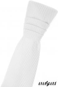 Biały angielski krawat dla chłopca z ukośnym paskiem