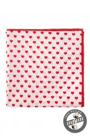 Biała poszetka - Czerwone serca