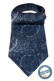Niebieski ascot z ciekawym wzorem w paisley