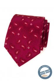 Jedwabny wzorzysty krawat w kolorze bordowym