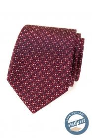 Czerwony jedwabny krawat z kolorowym wzorem