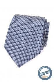 Jedwabny krawat z niebieskim wzorem