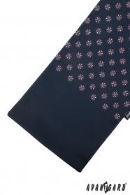 Granatowy szalik z kolorowym wzorem
