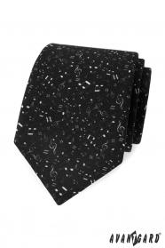 Czarny krawat męski Nuty
