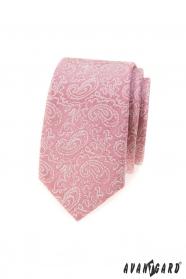 Wąski różowy wąski krawat z wzorem Paisley