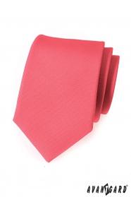 Matowy krawat w kolorze koralowym