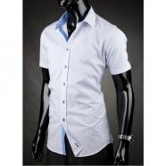 Koszula męska z krótkim rękawem Desire niebiesko-biała