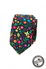 Wąski wielokolorowy krawat
