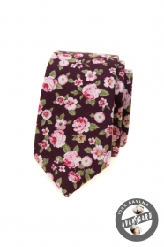 Wąski krawat w różowe kwiaty