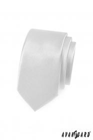 Gładki biały wąski krawat