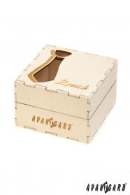 Drewniane pudełko na krawat - Pan młody