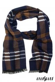Niebiesko-brązowy szal z białym paskiem