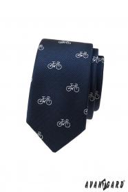 Niebieski wąski krawat z białym motywem roweru