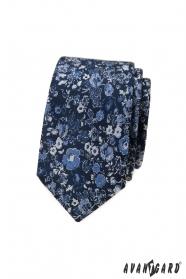 Wąski granatowy krawat w kwiatowy wzór