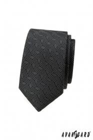 Ciemnoszary wąski krawat z nowoczesnym wzorem