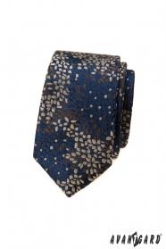 Niebieski wąski krawat w kolorowy wzór