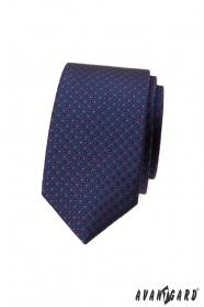 Granatowy wąski krawat w kropki