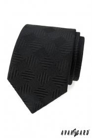 Czarny krawat w kwadratowy wzór