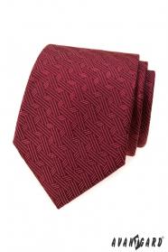 Krawat męski we wzór w kolorze bordowym