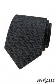 Szary krawat w przeplatane paski