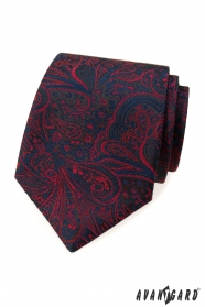 Krawat w niebiesko-czerwony wzór