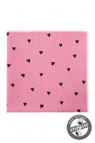 Różowa bawełniana poszetka w serduszka