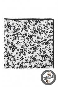 Biała poszetka w czarny kwiatowy wzór