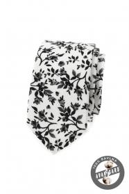 Wąski krawat w kwiatowy wzór