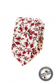 Biały wąski krawat w czerwone kwiaty