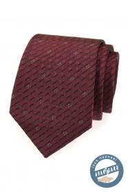 Bordowy krawat jedwabny w pudełku