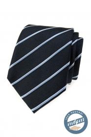 Niebieski jedwabny krawat w paski w pudełku